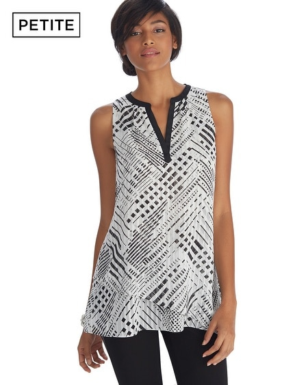 Petite Sleeveless Printed Tiered Tunic Top