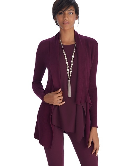 Open Front Drape Neck Burgundy Coverup