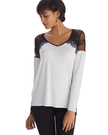 Long Sleeve Lace Shoulder Gray Top