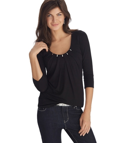 3/4 Sleeve Pleated Hardware Neck Black Tee