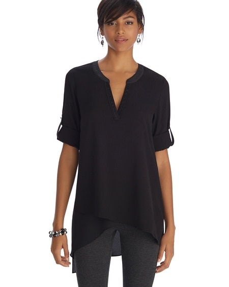 Long Sleeve Asymmetrical Henley Black Tunic Top