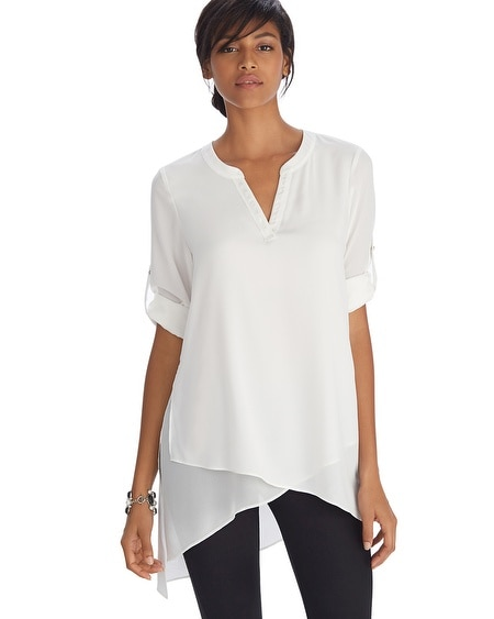 Long Sleeve Asymmetrical Henley Tunic Top