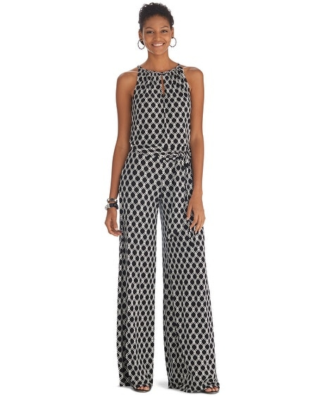 Sleeveless Printed Wide Leg Jumpsuit
