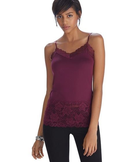 Wide Lace Burgundy Cami