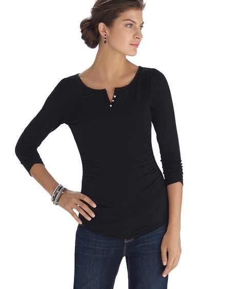 Black Jewel Button Tee