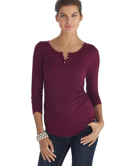 Burgundy Jewel Button Tee