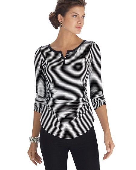 Striped Jewel Button Tee