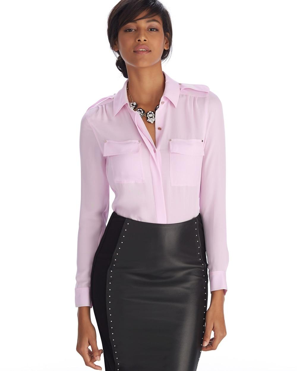 Long sleeve silk utility shirt whbm for Silk long sleeve shirt