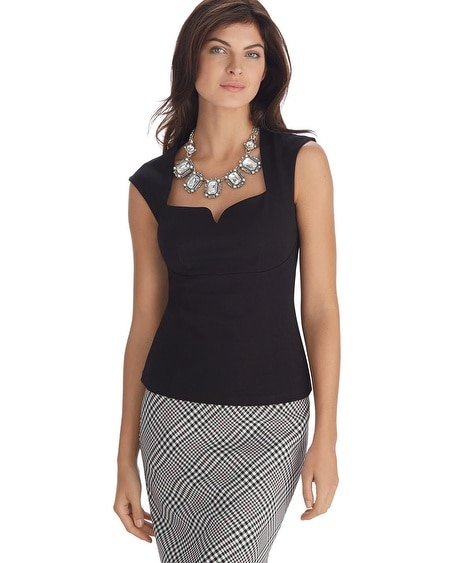 Extended Shoulder Ponte Black Bodice Top