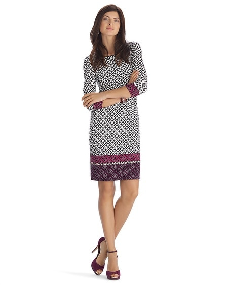 3/4 Sleeve Geometric Print Border Dress