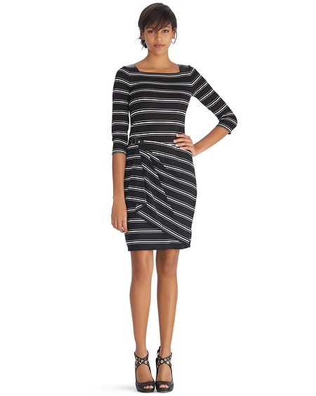 3/4 Sleeve Faux Wrap Stripe Dress