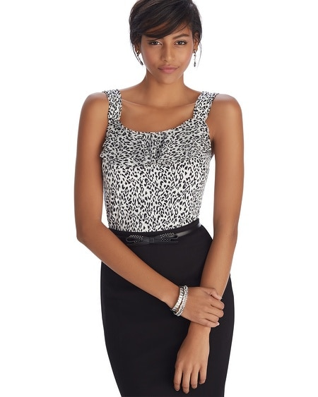 Sleeveless Leopard Print Ruffle Shell Top