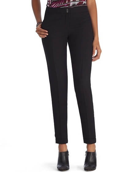 Crepe Cuffed Black Ankle Pant