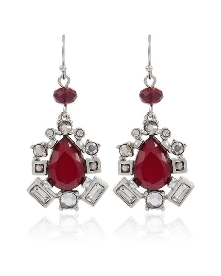 Burgundy Crystal Drop Earring