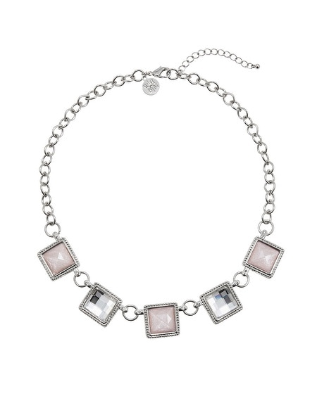 Pink Sparkle Crystal Square Short Necklace