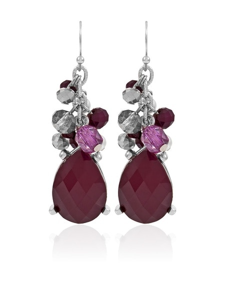 Burgundy Silver Drop Earring