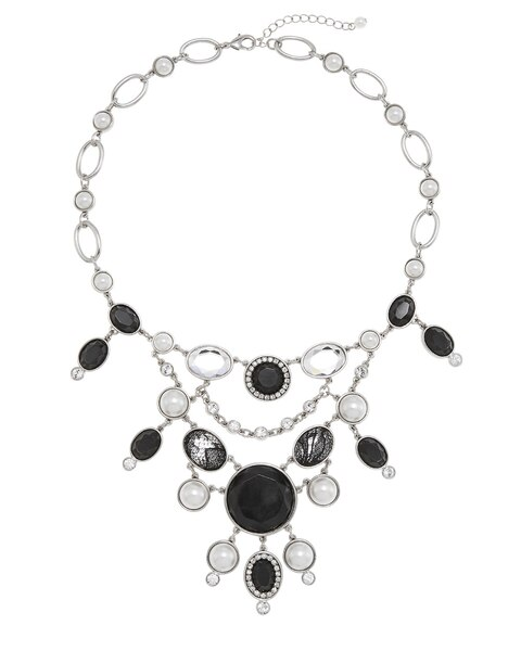 Black And White Lace Pearl Bib Necklace