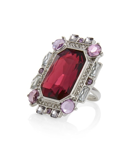 Burgundy Square Faceted Ring