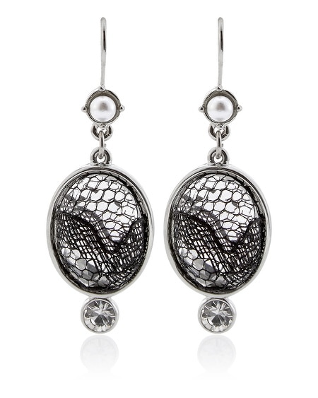Black and White Lace Pearl Drop Earring