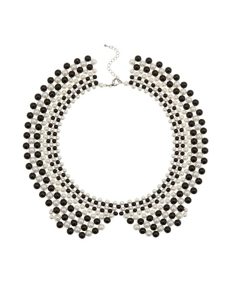 Black and White Beaded Collar Necklace