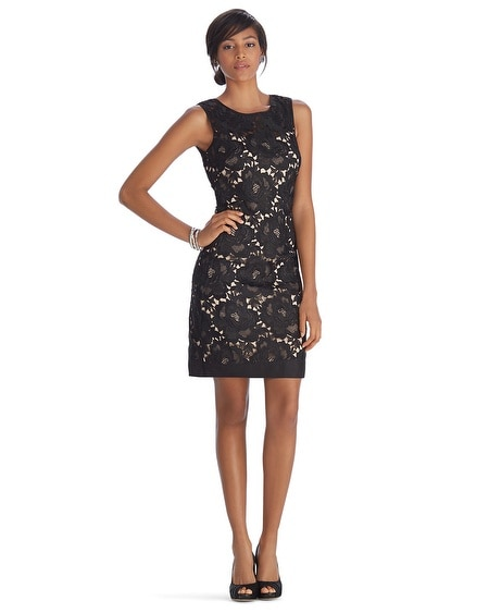 Iconic Starlet Sleeveless Lace Overlay Shift Dress
