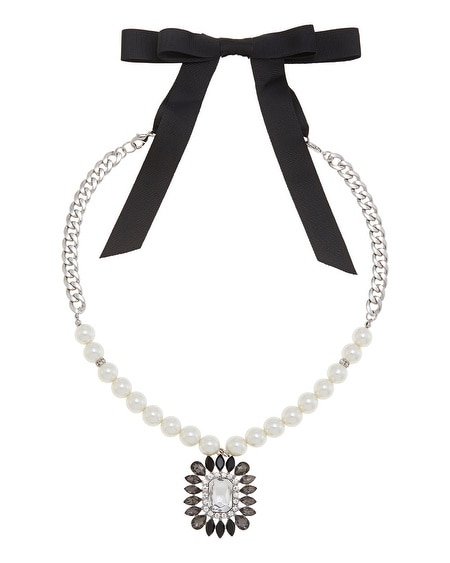 Pearl Chain Ribbon Tie Pendant Necklace