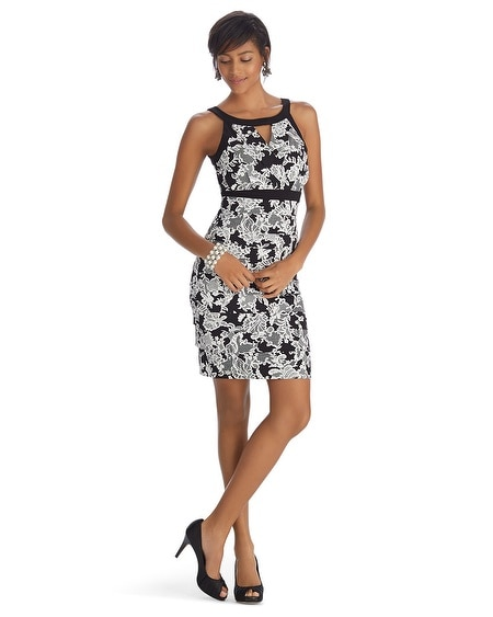 Sleeveless Lace Print Instantly Slimming Dress