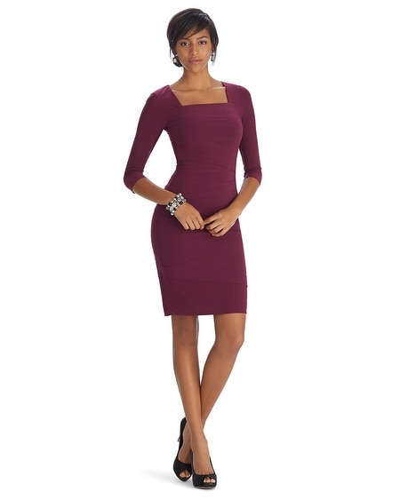 3/4 Sleeve Square Neck Dress