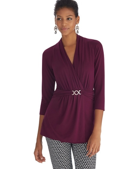 Surplice 3/4 Sleeve Hardware Burgundy Top