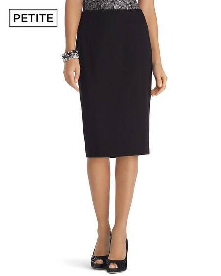 Petite Long Ponte Black Pencil Skirt