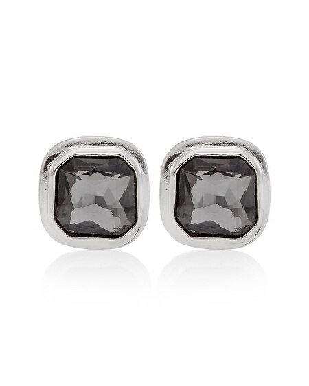Gray Faceted Square Stud Earring