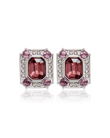 Burgundy Square Faceted Stud Earring
