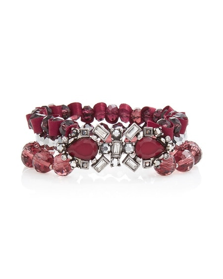Burgundy Crystal Stretch Bracelet