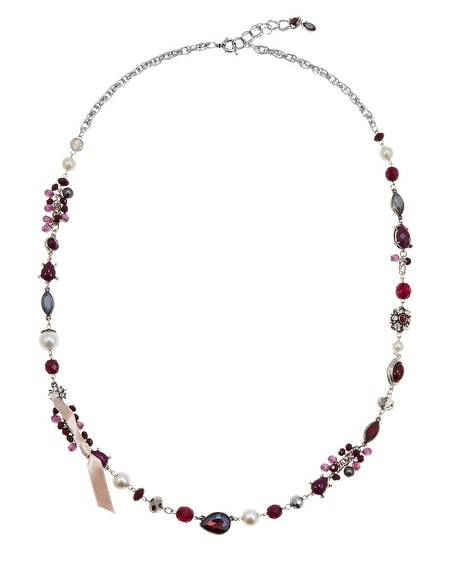 Burgundy Silver Crystal Long Necklace
