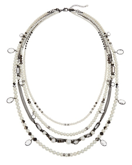 Pearl and Crystal Multi Row Convertible Necklace