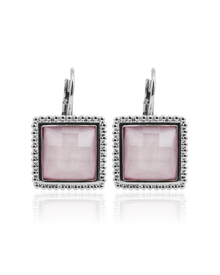 Pink Sparkle Crystal Square Drop Earring