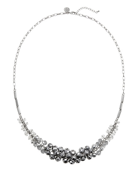 Gray Beaded Silver Ombre Necklace