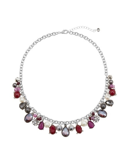 Burgundy Silver Pearl Charm Necklace