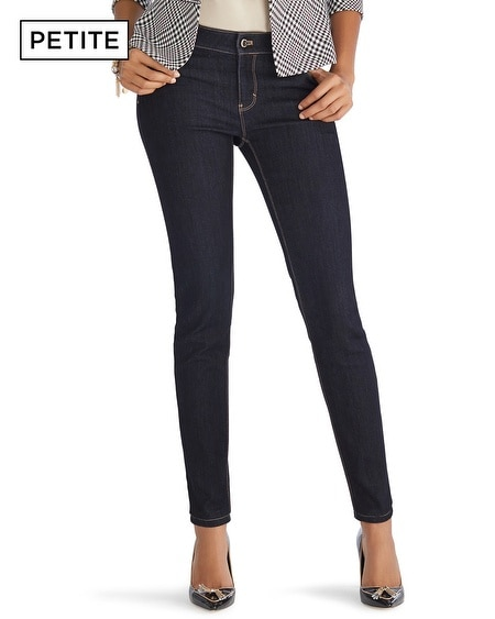 Petite Saint Honore Leather Trim Skinny Jeans