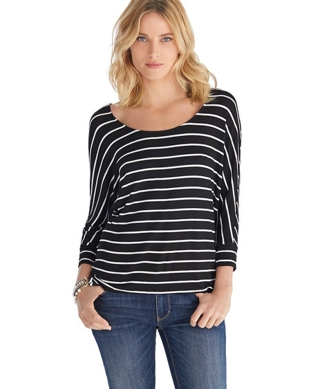 Dolman Sleeve Fitted Cuff Striped Tee