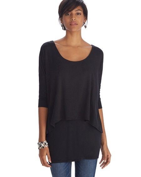 3/4 Sleeve Overlay Tunic Top