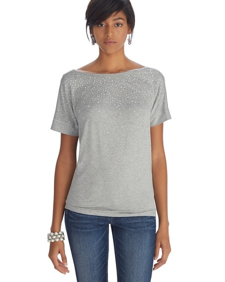 Short Sleeve Scoop Back Gray Top