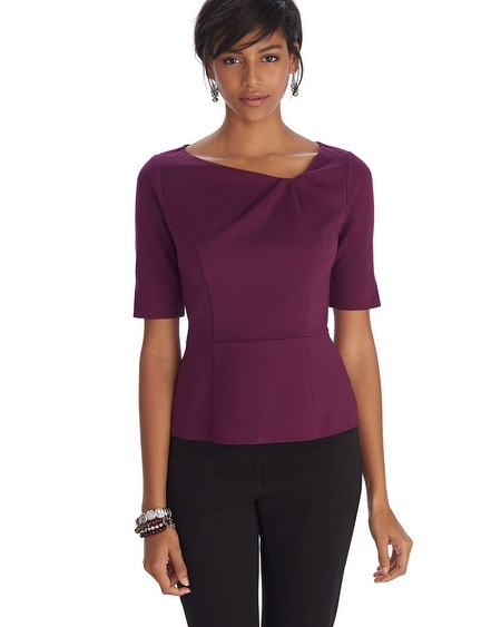 Ponte Asymmetrical Pleat Bodice Top