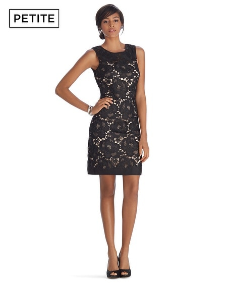 Petite Iconic Starlet Sleeveless Lace Overlay Shift Dress