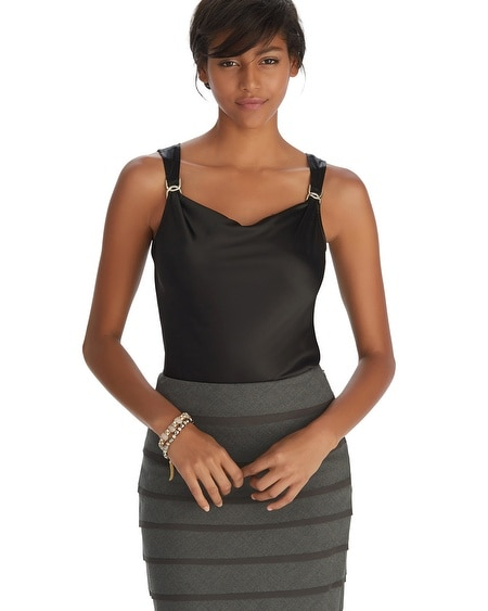 Sleeveless Cowl Neck Black Shell Top