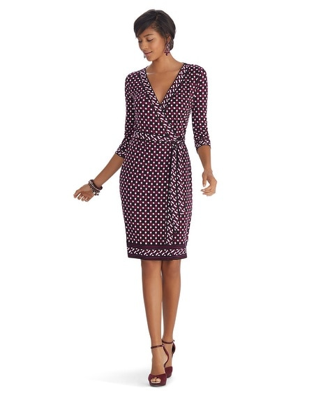 3/4 Sleeve Printed Wrap Dress
