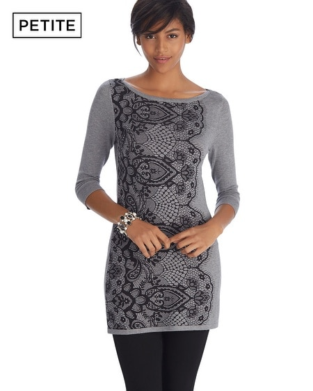 Petite 3/4 Sleeve Lace Printed Tunic Pullover