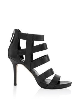 Leather Caged Black Heel - White House | Black Market