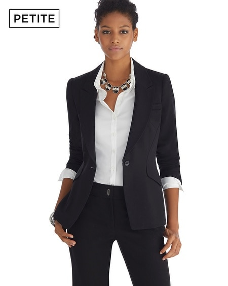 Petite Peak Lapel Seasonless Black Jacket