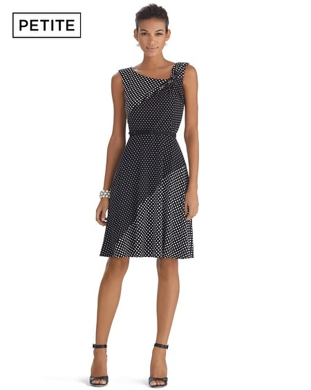 Petite Sleeveless Twist Polka Dot Fit and Flare Dress